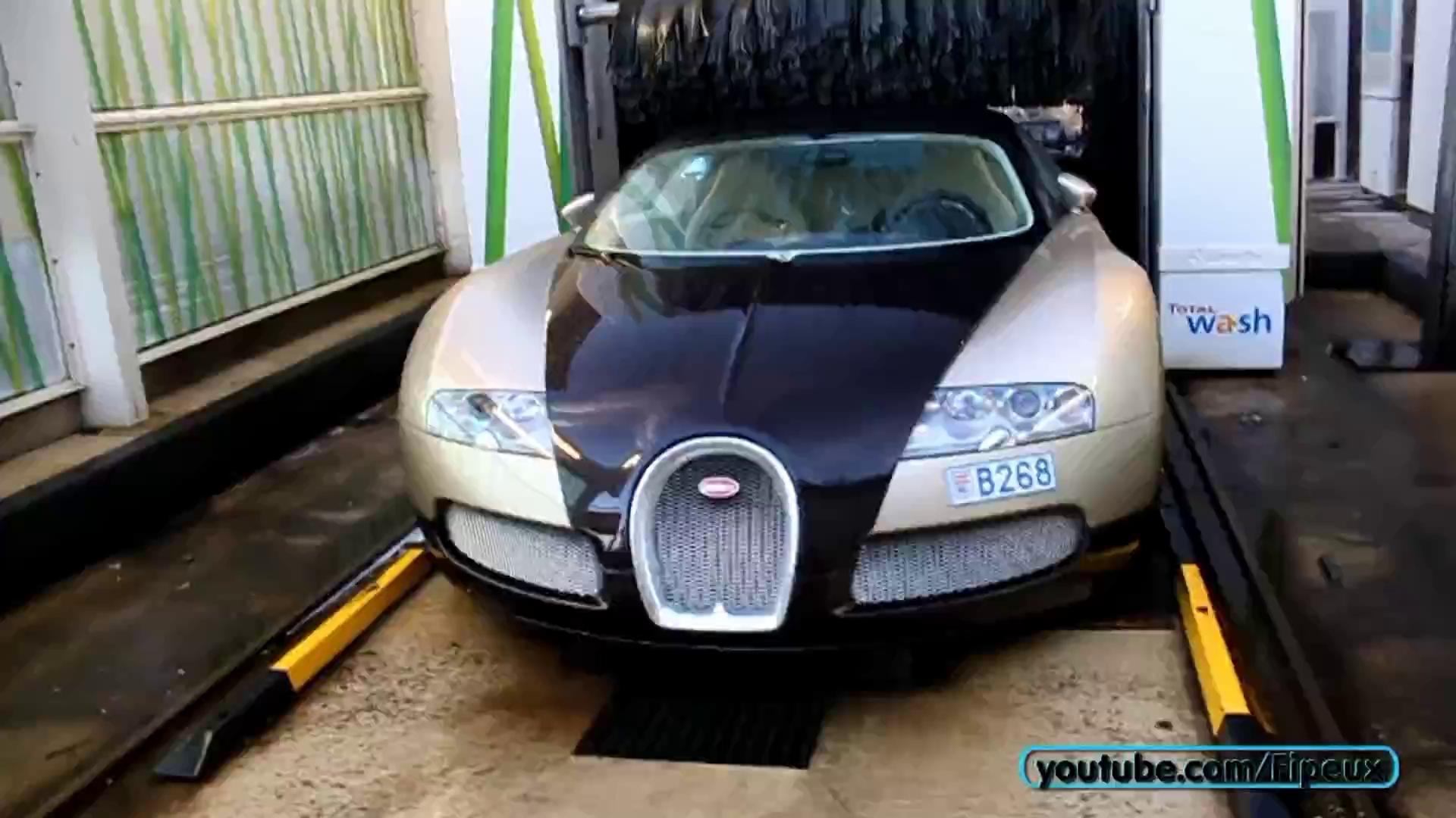 """Bugatti Veyron cũng """"đi tắm"""" tại cửa hàng rửa xe tự động như ô tô bình dân"""