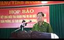 Đại tá Nguyễn Hữu Cầu - GĐ CA tỉnh Nghệ An phát biểu kết thúc buổi họp báo.