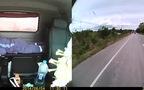 Xe container mất lái rồi lật ngang đường vì tài xế ngủ gật