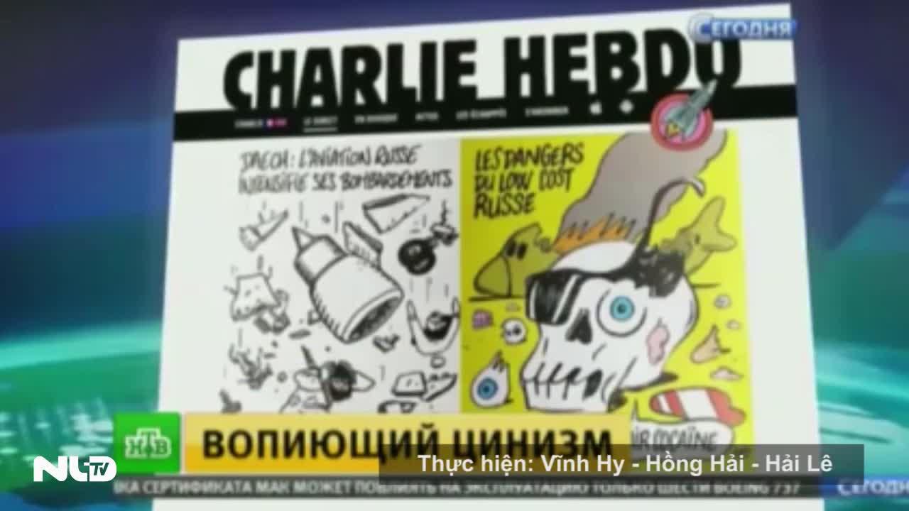 Nga phản ứng dữ dội tạp chí Charlie Hebdo hí họa vụ máy bay rơi
