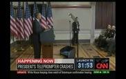 Máy nhắc chữ rơi vỡ khi Obama đang phát biểu