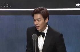 Lee Min Ho cảm ơn khán giả khi nhận giải