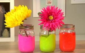 Handmade hũ thủy tinh màu Neon siêu dễ thương tô điểm căn nhà
