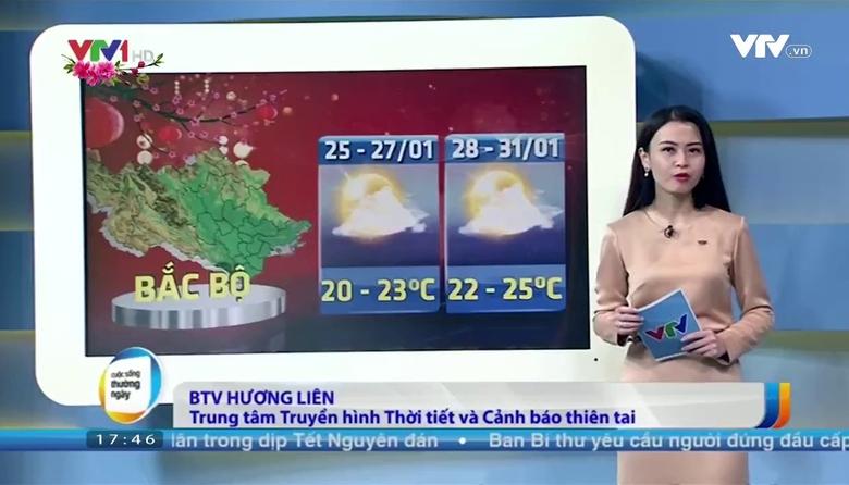 Bản tin thời tiết 18h - 24/01/2017